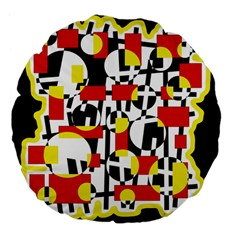 Red And Yellow Chaos Large 18  Premium Flano Round Cushions by Valentinaart