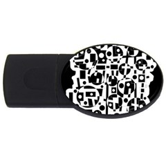 Black And White Abstract Chaos Usb Flash Drive Oval (4 Gb)  by Valentinaart