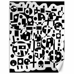 Black And White Abstract Chaos Canvas 12  X 16   by Valentinaart