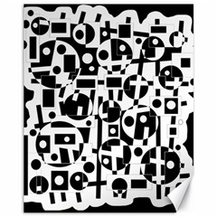 Black And White Abstract Chaos Canvas 11  X 14   by Valentinaart