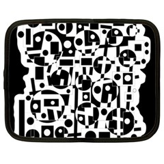 Black And White Abstract Chaos Netbook Case (xxl)  by Valentinaart