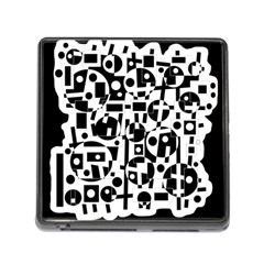 Black And White Abstract Chaos Memory Card Reader (square) by Valentinaart