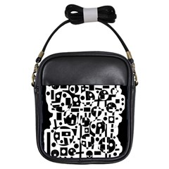 Black And White Abstract Chaos Girls Sling Bags by Valentinaart