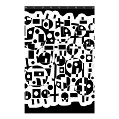 Black And White Abstract Chaos Shower Curtain 48  X 72  (small)  by Valentinaart