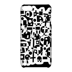 Black And White Abstract Chaos Apple Ipod Touch 5 Hardshell Case With Stand by Valentinaart