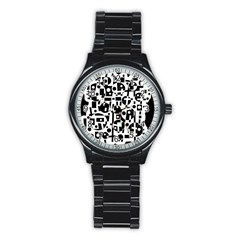 Black And White Abstract Chaos Stainless Steel Round Watch by Valentinaart
