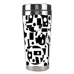 Black And White Abstract Chaos Stainless Steel Travel Tumblers by Valentinaart