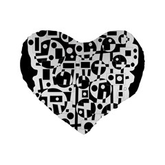 Black And White Abstract Chaos Standard 16  Premium Flano Heart Shape Cushions by Valentinaart