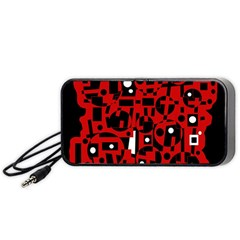 Red Portable Speaker (Black)  by Valentinaart