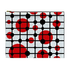 Red Circles Cosmetic Bag (xl) by Valentinaart