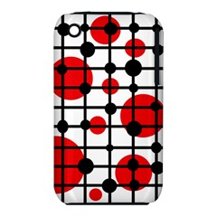 Red Circles Apple Iphone 3g/3gs Hardshell Case (pc+silicone) by Valentinaart