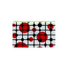 Red Circles Cosmetic Bag (xs) by Valentinaart