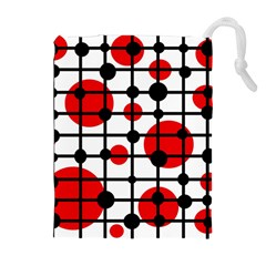 Red Circles Drawstring Pouches (extra Large) by Valentinaart