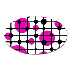 Magenta Circles Oval Magnet by Valentinaart