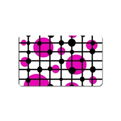 Magenta circles Magnet (Name Card) by Valentinaart