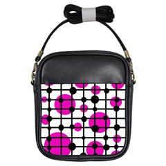Magenta Circles Girls Sling Bags by Valentinaart