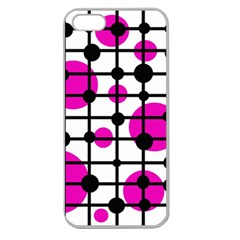 Magenta Circles Apple Seamless Iphone 5 Case (clear)