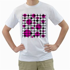 Magenta Circles Men s T Shirt (white)  by Valentinaart