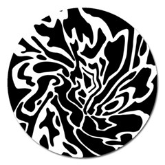 Black And White Decor Magnet 5  (round) by Valentinaart
