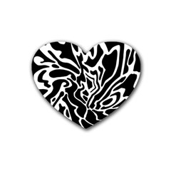 Black And White Decor Heart Coaster (4 Pack)  by Valentinaart