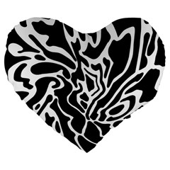 Black And White Decor Large 19  Premium Flano Heart Shape Cushions by Valentinaart