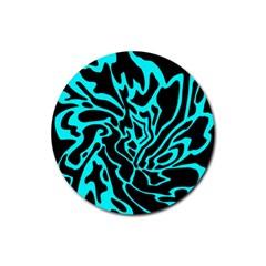 Cyan Decor Rubber Coaster (round)  by Valentinaart