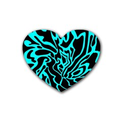 Cyan Decor Rubber Coaster (heart)  by Valentinaart