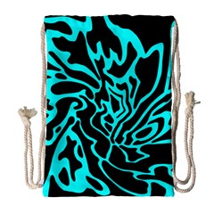 Cyan Decor Drawstring Bag (large) by Valentinaart