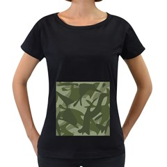 Green Camouflage Pattern Women s Loose-Fit T-Shirt (Black) by artpics