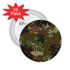 Pixel Woodland Camo Pattern 2.25  Buttons (10 pack)  by artpics