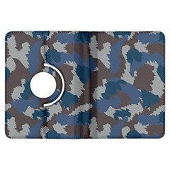 Blue And Grey Camo Pattern Kindle Fire HDX Flip 360 Case by artpics
