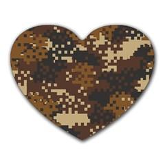 Pixel Brown Camo Pattern Heart Mousepads by artpics