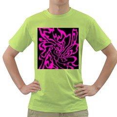 Magenta And Black Green T Shirt by Valentinaart