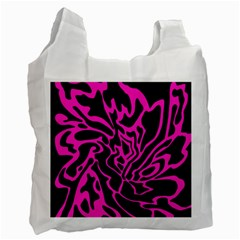 Magenta And Black Recycle Bag (one Side) by Valentinaart