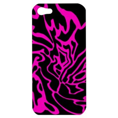 Magenta And Black Apple Iphone 5 Hardshell Case by Valentinaart
