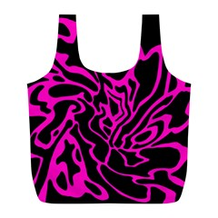 Magenta And Black Full Print Recycle Bags (l)  by Valentinaart