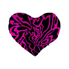 Magenta And Black Standard 16  Premium Flano Heart Shape Cushions by Valentinaart