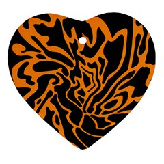 Orange And Black Ornament (heart)  by Valentinaart