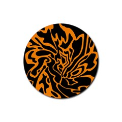 Orange And Black Rubber Coaster (round)  by Valentinaart