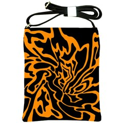 Orange And Black Shoulder Sling Bags by Valentinaart