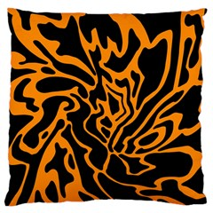 Orange And Black Large Cushion Case (one Side) by Valentinaart