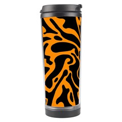 Orange And Black Travel Tumbler by Valentinaart