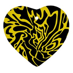 Black And Yellow Heart Ornament (2 Sides) by Valentinaart