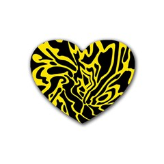 Black And Yellow Rubber Coaster (heart)  by Valentinaart