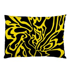 Black And Yellow Pillow Case by Valentinaart