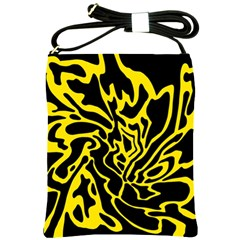 Black And Yellow Shoulder Sling Bags by Valentinaart