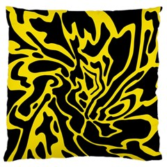Black And Yellow Large Cushion Case (one Side) by Valentinaart