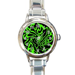 Green And Black Round Italian Charm Watch by Valentinaart