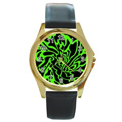 Green And Black Round Gold Metal Watch by Valentinaart