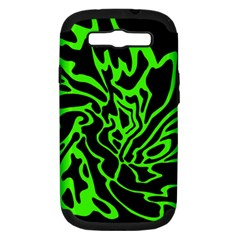 Green and black Samsung Galaxy S III Hardshell Case (PC+Silicone) by Valentinaart